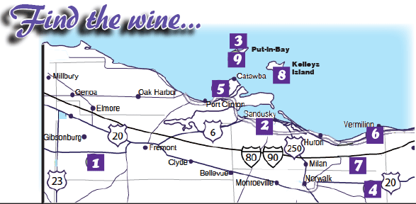 Lake Erie Shores And Islands Wine Trail Map